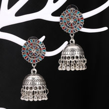 Retro Indian Jhumka Jhumki Drop Earrings Gypsy Jewelry Silver Metal Bells Tassel Statement Earring Bridal Wedding Party Gift(China)