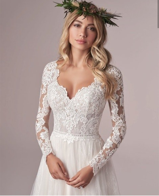 Long Sleeve Wedding Dress With Corset Low Back Floor length Lace Appliques Bridal Gowns White Tulle Organza Graceful V-Neck 2