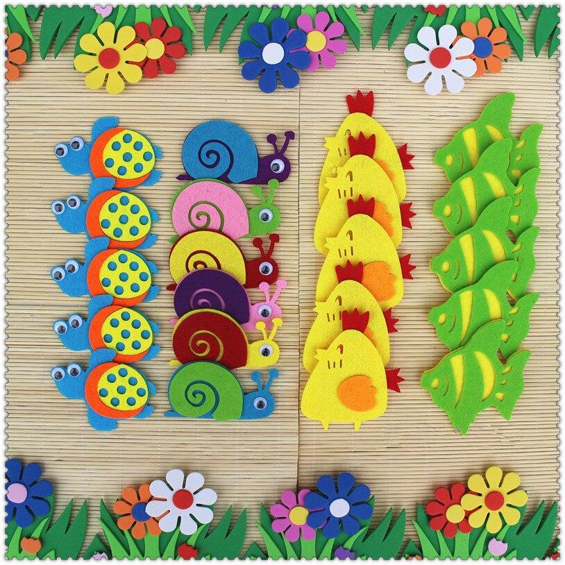 T-N Non-woven Felt Animal Monkey Panda Kangaroo Chicken DIY Pack Kindergarten Decoration Primary School Classroom Wall Stickers