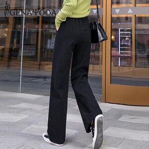 Image 4 - Genayoua Knitting Plus Size spodnie damskie spodnie na co dzień szerokie nogawki wysokiej talii eleganckie spodnie urząd Lady odzież robocza damskie spodnie 2019