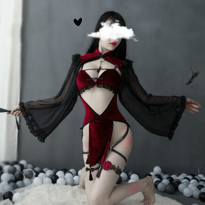 Dark Retro Witch Sexy Hollow Silk Sleeve Cheongsam Sexy Lingerie Set Witch Tight Game Wear Bandage Performance Costume