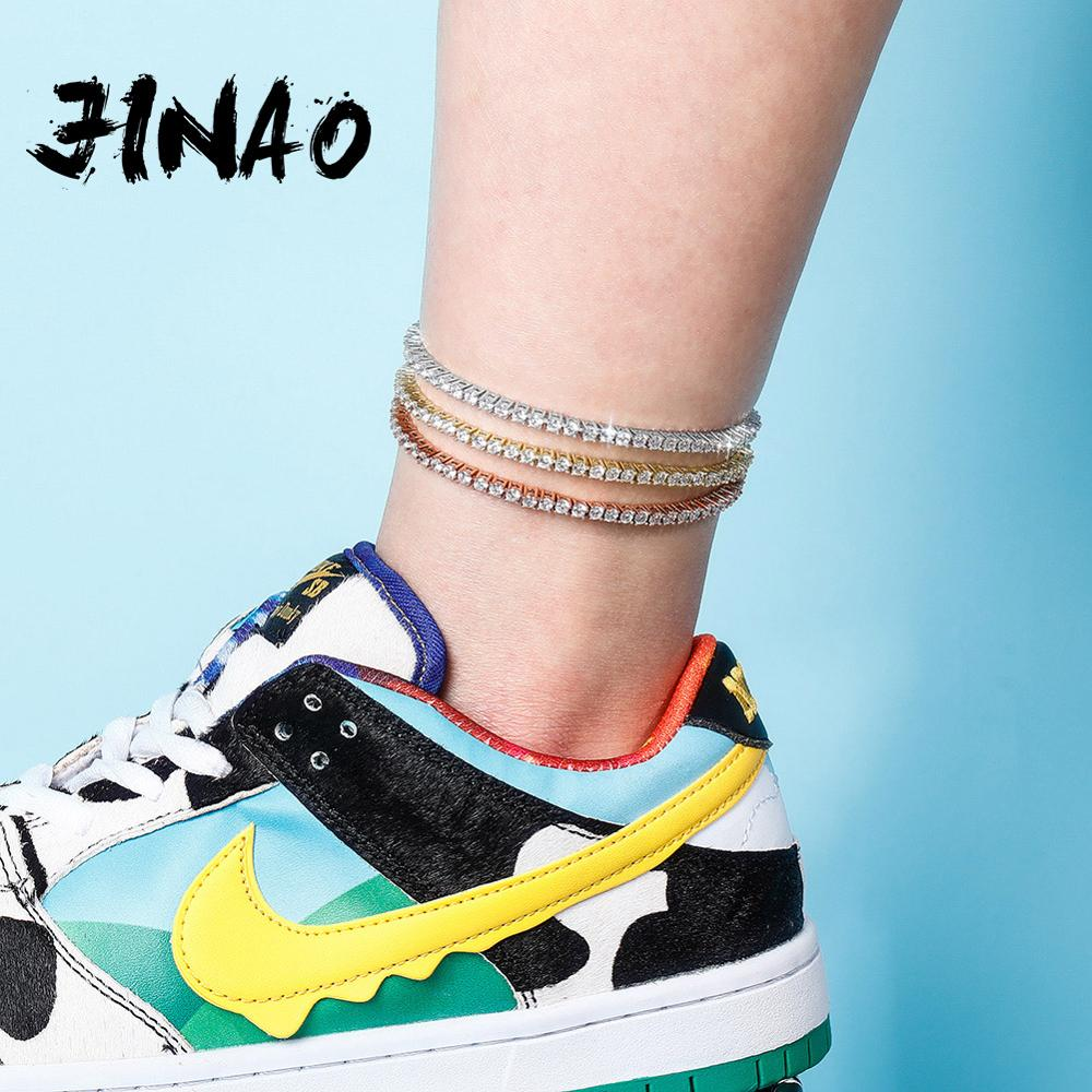 JINAO New Women Anklet 3mm Row Tennis Cubic Zirconia Anklet Choker Hip Hop Fashion Charm Jewelry For Gift Can Adjustable Gift
