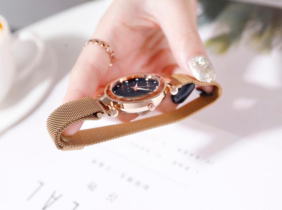 Luxury Women Watch Fashion Elegant Magnet Buckle Vibrato Purple Ladies Wristwatch Starry Sky Roman diamond Quartz watch Gift www.prettybuyers.com