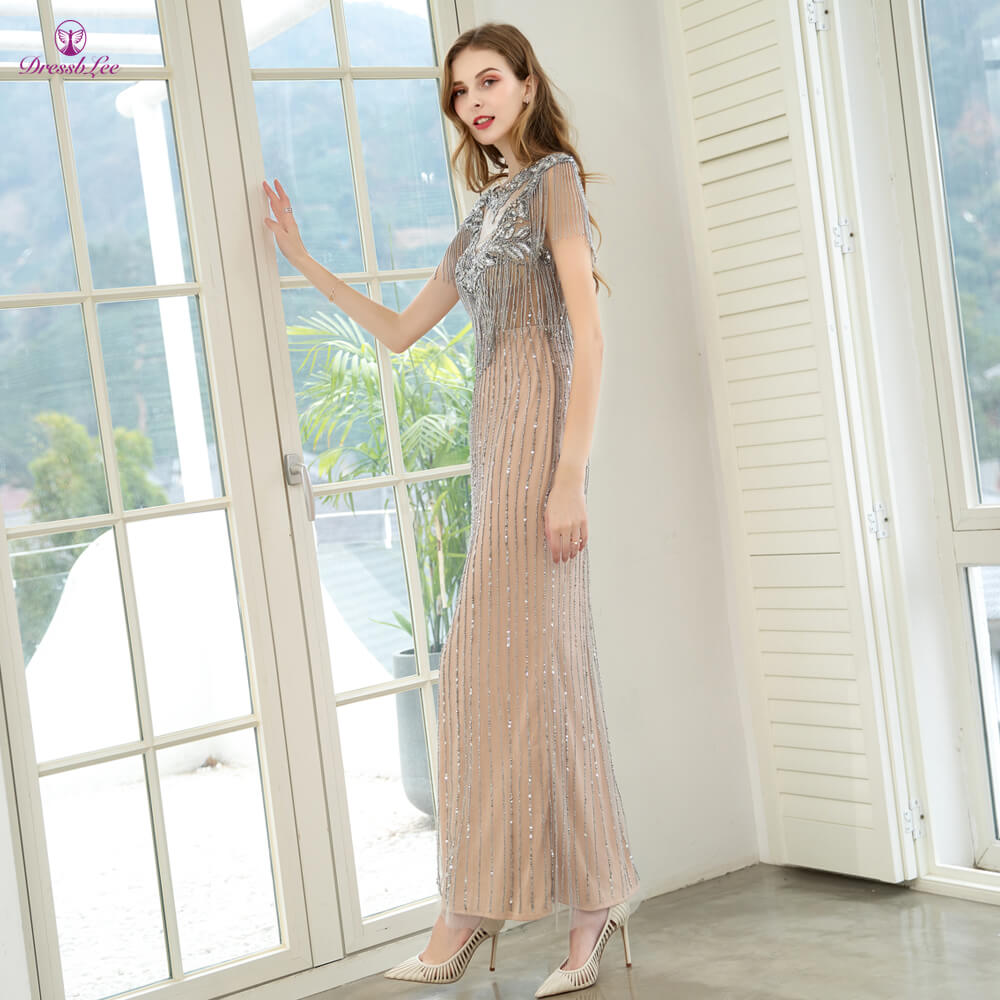 DressbLee Sparkly Mermaid Prom Dress Full Crystal Beaded Long Prom Dresses Cap Sleeves Backless Formal Party Gown vestido