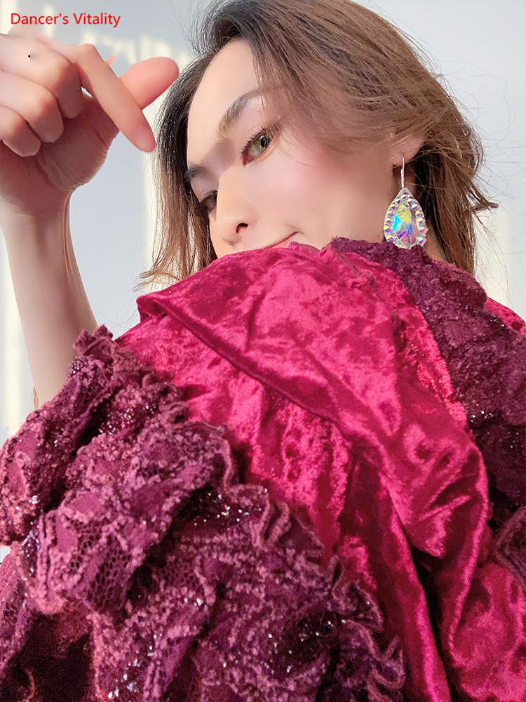 Belly Dance Hip Scarf Autumn And Winter New Performance Clothing Waist Scarf Velvet Section Bottom Dance Clothing Women