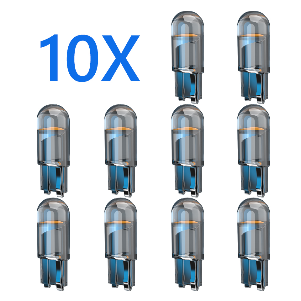 10x 2021 Newest W5W Led T10 Car Light COB Glass 6000K White Auto Automobiles License Plate Lamp Dome Read DRL Bulb Style 12V 1