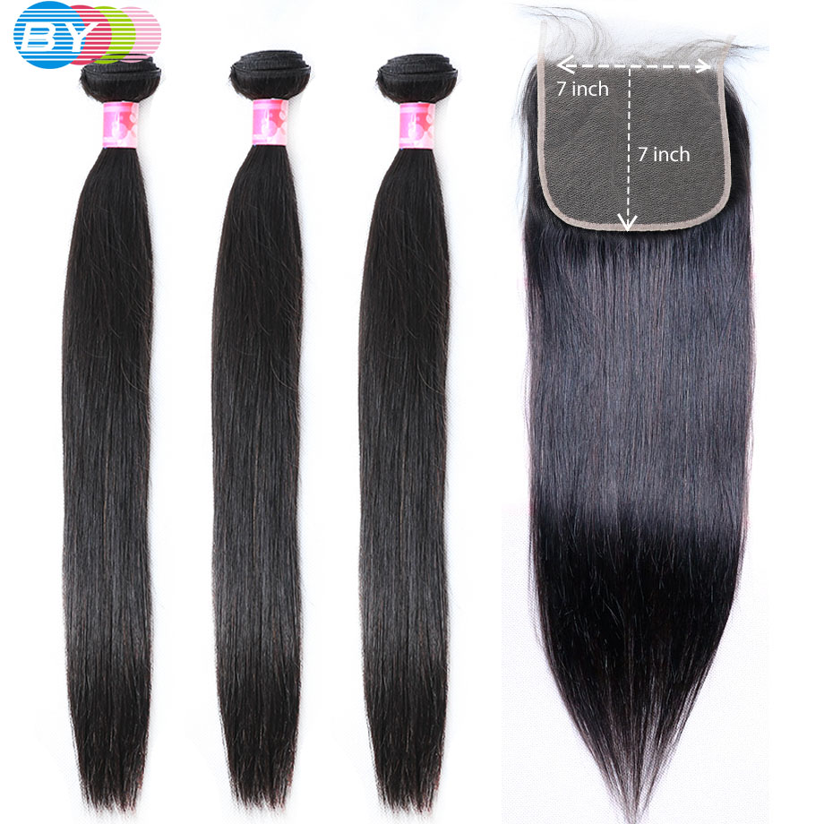 7x7 Lace Closure With Bundles Remy Human Hair Bundles With Closure Brazilian Straight hair Bundles With Closure BY Hair-in 3/4 Bundles with Closure from Hair Extensions & Wigs    1