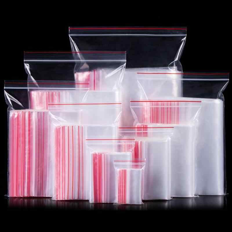 100 قطعة/الوحدة أكياس بلاستيكية صغيرة Reclosable شفافة تخزين حقيبة واضح المطبخ حزمة مجوهرات/الغذاء حقيبة