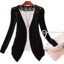 Женская ажурная кружевная трикотажная Милая Вязаная блуза ярких цветов, топ, пальто, свитер, Кардиган с длинным рукавом, тонкая куртка