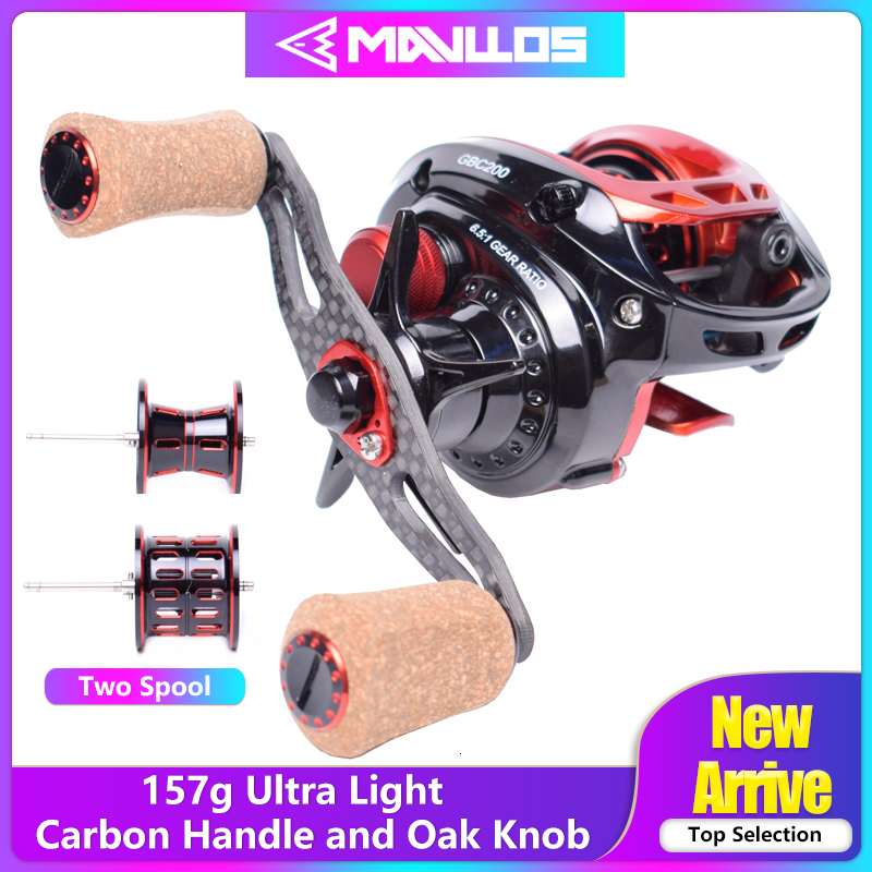 Mavllos Pioneer 157g BFS Fishing Reel Baitcasting Right Left Hand 6.5:1 Low Profile 2 Metal Spool Bait Casting Reels