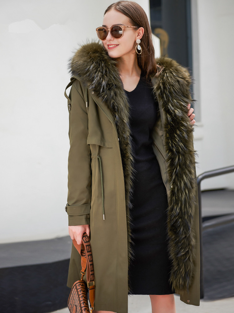 Real Parka Fur Coat Female Rabbit Fur Liner Winter Coat Women Fox Raccoon Fur Collar Warm Long Jacket Trench Coats MY S