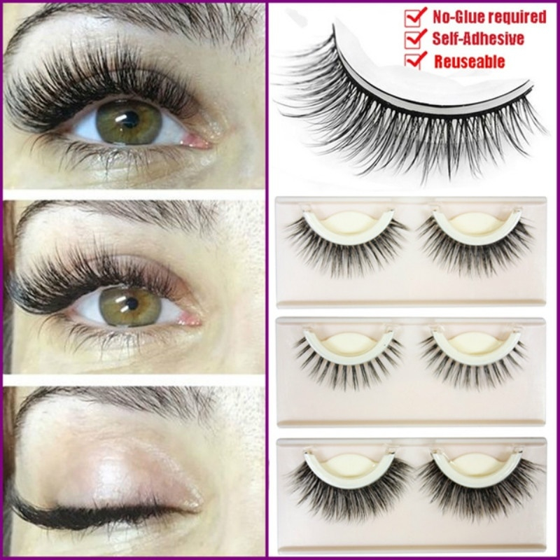 3D Mink Reusable Self-adhesive False Eyelashes Natural Curly Thick No Glue Fake Eyelashes Makeup Tools Eye Lashes Extension