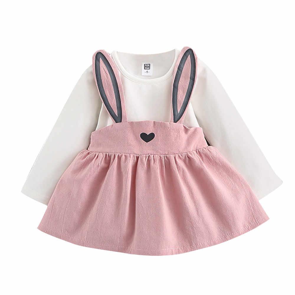 קיץ חמוד Cartoon 2PCS ילדים בייבי בני בנות ילדים ילדים בנות קצר שרוול קריקטורה ארנב חולצה + טוטו חצאית סט תלבושת