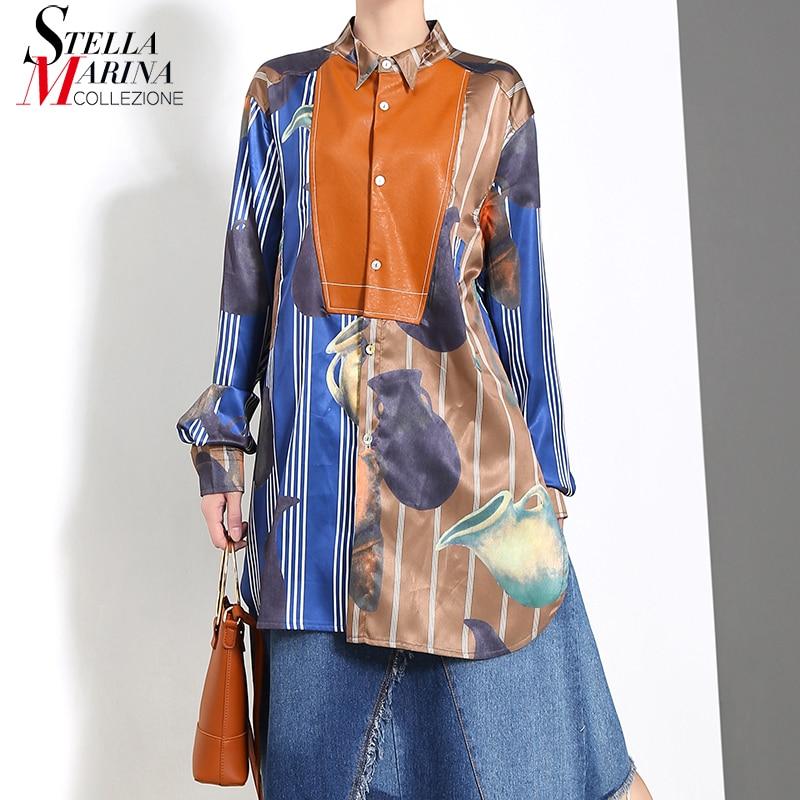 New 2019 Korean Style Women Long Sleeve Blouse Shirt Bright Colorful Printed Ladies Plus Size Feminine Shirt Chemise Femme 5384