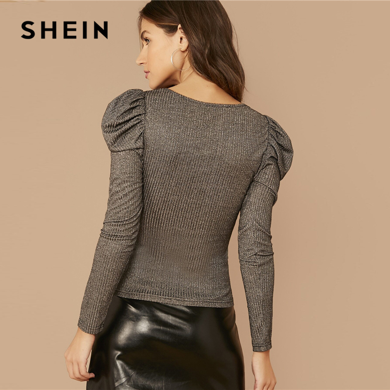 SHEIN Silver V-neck Gigot Sleeve Glitter Tee Women Spring Tshirt  Puff Shoulder Rib-Knitted Glamorous Slim Fit T-shirts 2