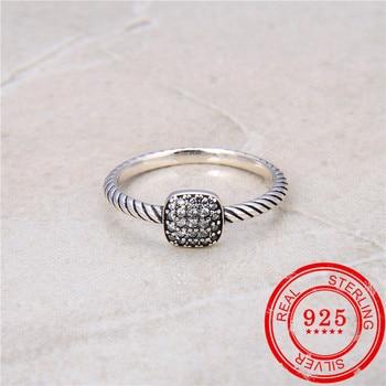 цена на Korea 925 sterling silver ring zircon inlaid retro style ring ladies 925 sterling silver jewelry