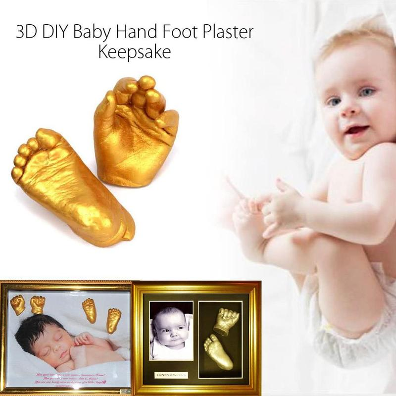 1 Set Baby 3d Hand Foot Print Mold Powder Plaster Casting Kit Handprint Footprint Keepsake Gift Baby Growth Memorial Manual New