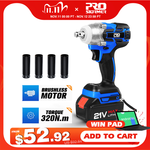 Electric Impact Wrench 21V Brushless Wrench Socket 4000mAh Li ion Battery Hand Drill Installation Power Tools By PROSTORMER