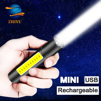 ZHIYU USB Rechargeable MIni LED Flashlight XPE COB Portable 3 Mode Torch Zoom Built in Battery Camping Home Use Flash Lights Hot panyue usb xml xpe cob led flashlight portable mini zoom torchflashlight waterproof in life lighting