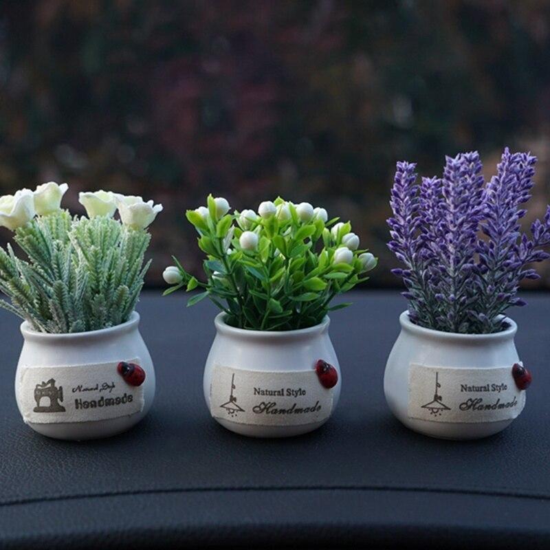 Car Simulation Plant Ornaments Flowerpot Lavender Sunflower Car Interior Decoration Accessories