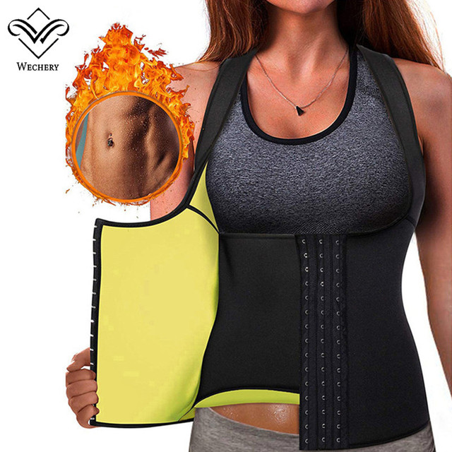 Wechery Slimming Body Shaper Tops Tummy Control Belt Women Modeling Strap Sweat Sport Clothes Neoprene Shapewear Flat Belly