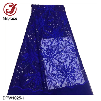 Nigeria Weddings Dresses Laces French Tulle Sequin Embroidery Fabric African Tulle Lace Fabrics DPW1025