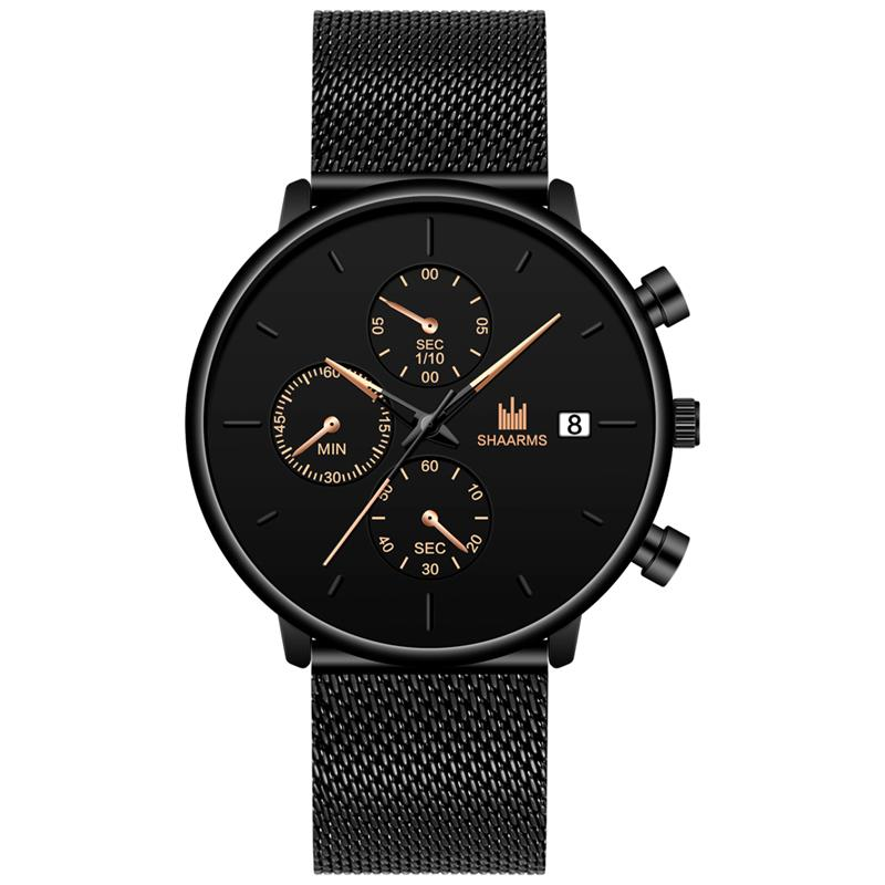 SHAARMS Watch Men Fashion Simple Mesh Strap Casual Quartz Watches Mens Wristatch Calendar Man Clock Relojes Hombre Dropshipping