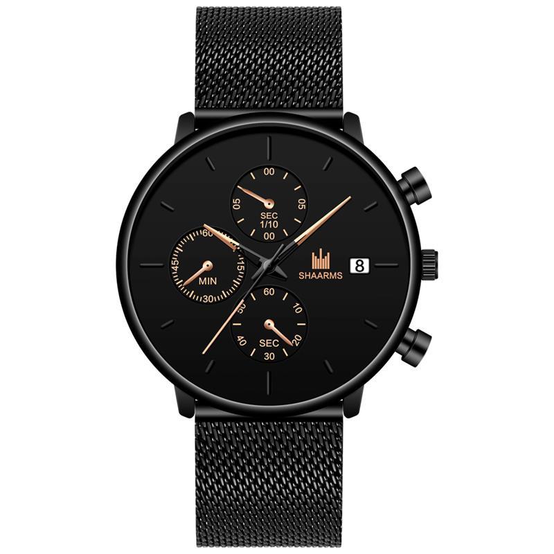 SHAARMS Watch Men Fashion Simple Mesh Strap Casual Quartz Watches Mens Wristatch Calendar Man Clock Relojes Hombre Dropshipping