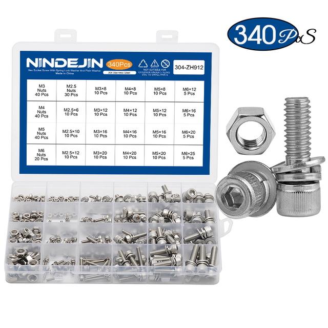 340pcs Hex Socket Head Cap Screw with Washer and Nut Three Sem Screw M2.5 M3 M4 M5 M6 Stainless Steel Three Combination Thread