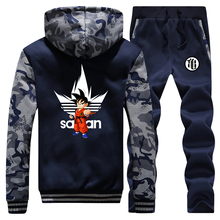 Anime Dragon Ball Z Dikke Hoodie Sweatshirt Dragonball Z Goku Camouflage Truien Jas + Broek 2 Stuk Sets Mannen Streetwear jas