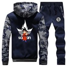 Anime Dragon ball Z Thick Hoodie Sweatshirt DragonBall Z Goku Camouflage Hoodies Jacket+Pants 2 Piece Sets Men Streetwear Coat