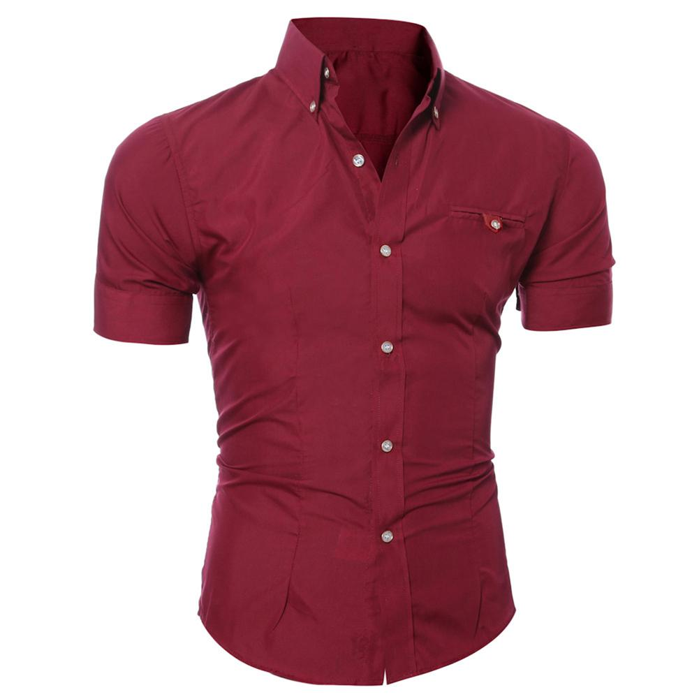 Fashion Men Solid Color Buttons Down Shirt Short Sleeve Lapel