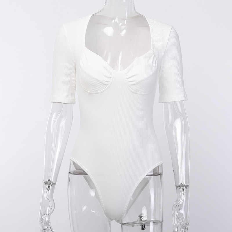 2019 белые женские комбинезоны с низким вырезом бандажная блузка сексуальный комбинезон облегающий костюм черный Боди Mujer