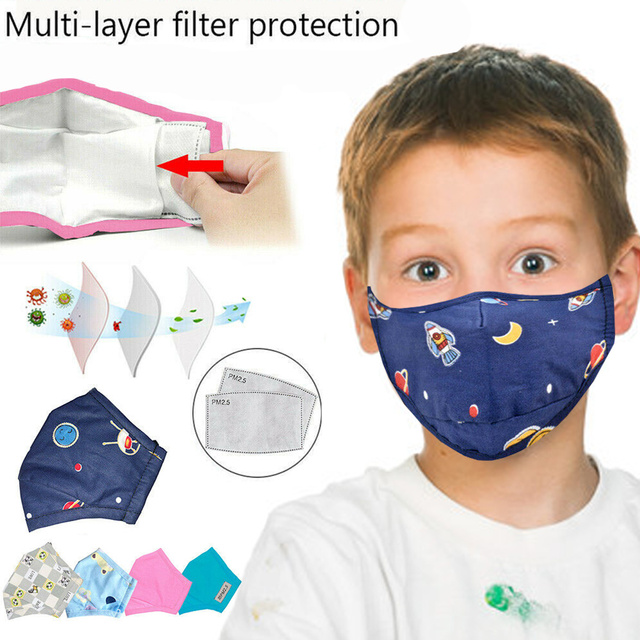 Cute PM2.5 Washable Cotton Mouth Mask With 2 Filters Kids Anti Haze Dust Mask Nose Filter Face Muffle Bacteria Flu Respirator