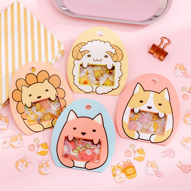 50Pcs Cute Cartoon Decorative Stickers Kawaii Animal Stationery Stickers PVC Adhesive Sticker For Kids DIY Scrapbooking Supplies