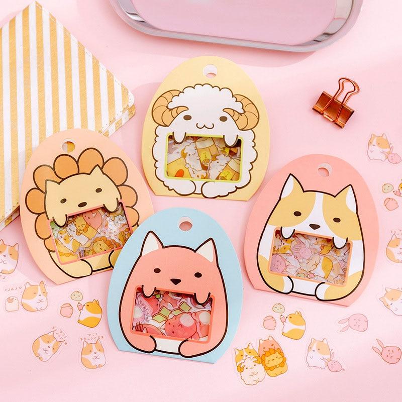 50Pcs Cute Cartoon Decorative Stickers Kawaii Animal Stationery Stickers PVC Adhesive Sticker For Kids DIY Scrapbooking Supplies