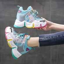 Summer Women Sneakers 2020 Thick Sole Dad Shoes Casual 10.5cm High Platform Shoes Comfortable Leisure Chunky Sneakers Woman Pink casual shoes sports shoes thick sole solid color simple versatile comfortable durable women s shoes sneakers