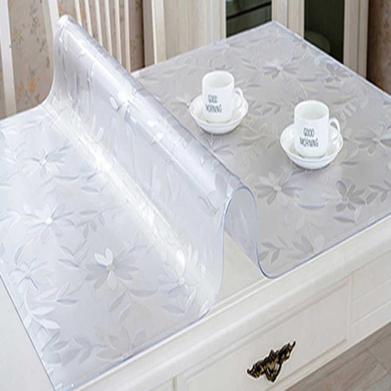 מותג PVC מפת שולחן מפת שולחן שקוף מפת שולחן כיסוי עמיד למים מטבח דפוס שמן מפת שולחן זכוכית רכה בד 1.0mm