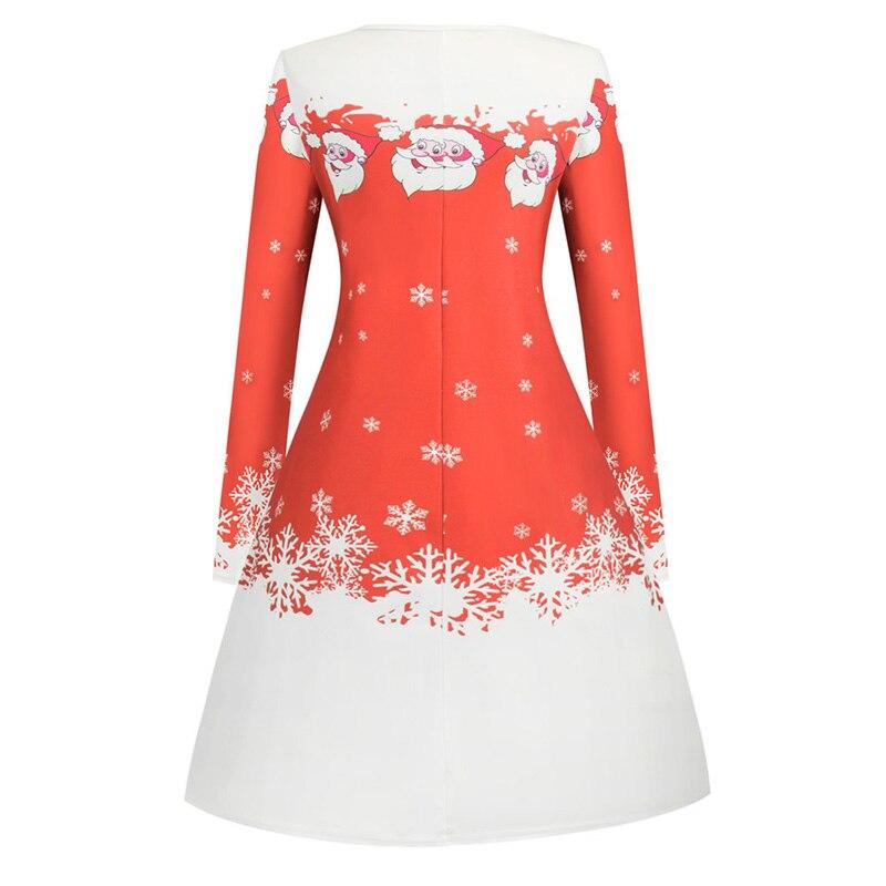 Women White Santa Claus Print Christmas Dress Winter Long Sleeve Xmas Party Casual Elegant Vintage A-line Midi Dresses Vestidos 6