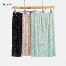 Women Skirts Sequined Straight High-Street-Style Mid-Calf Empire Dot Spring-Dot Party