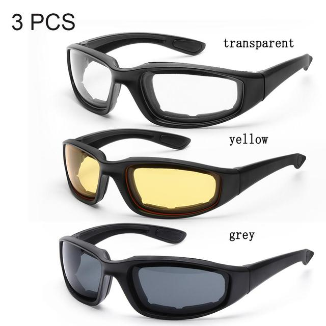 3 Pair Motorcycle Riding Glasses  6