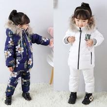 30 derece Kış Takım Elbise Erkek Su Geçirmez giyim setleri Çocuk Kar Ceketler + Pantolon Çocuklar Ördek Aşağı Palto Kabanlar