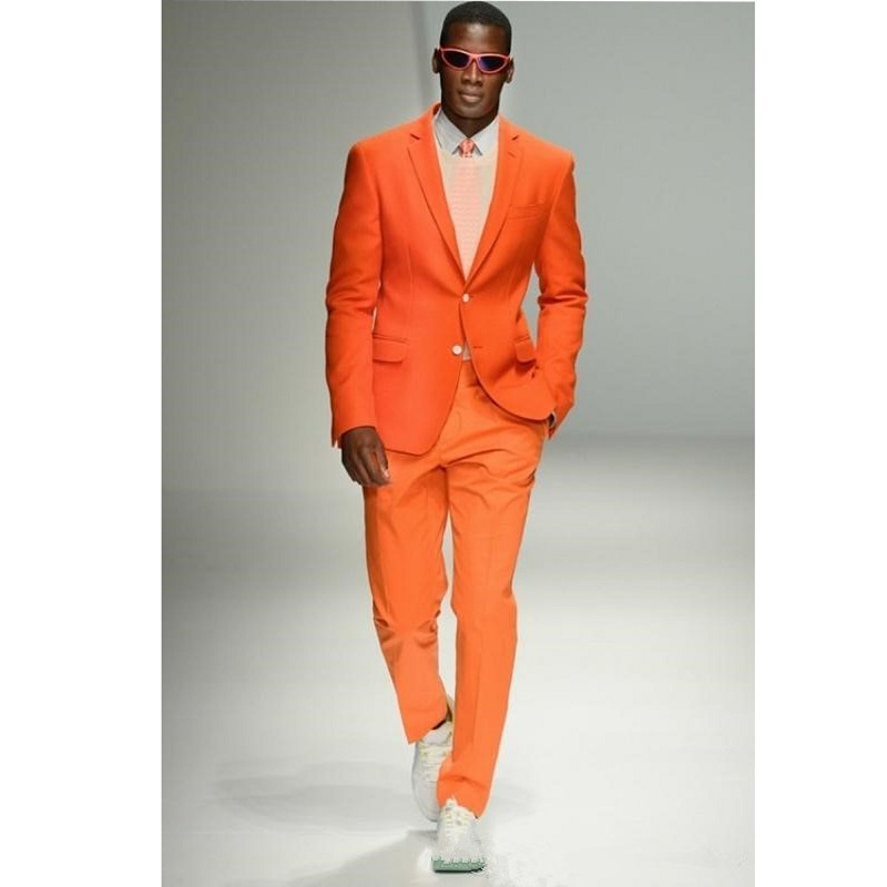 Fashion Orange Young Men Daily Wear Suits Groom Tuxedos For Topic Wedding Suits Two Buttons Blazer 2020 (Jacket+Pant)
