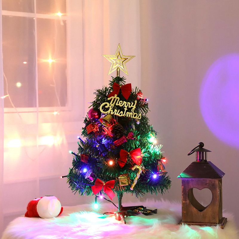Led Light Up Xmas Tree Holiday Gift Tabletop Decor Artificial Pine Tree With Golden Star Topper Small Christmas Ornaments Trees Aliexpress