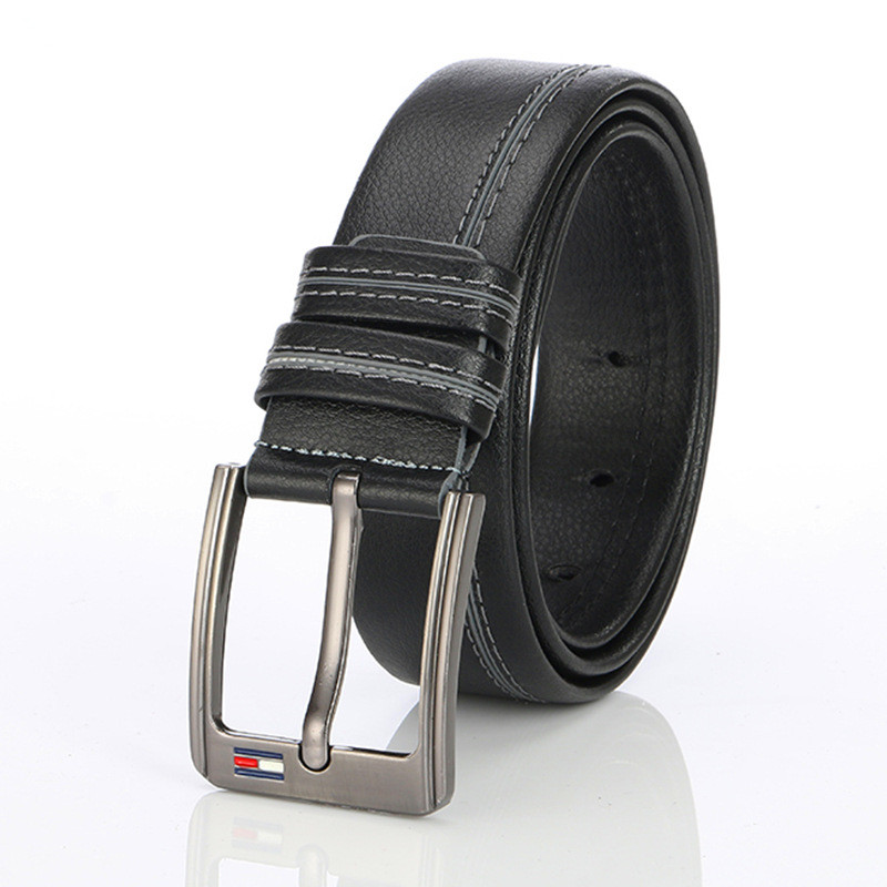 TJ-TingJun Belt Male Girdle Waistband Youth Simple Hot Style British White Car Line Casual Men Waistband PU Belt C006