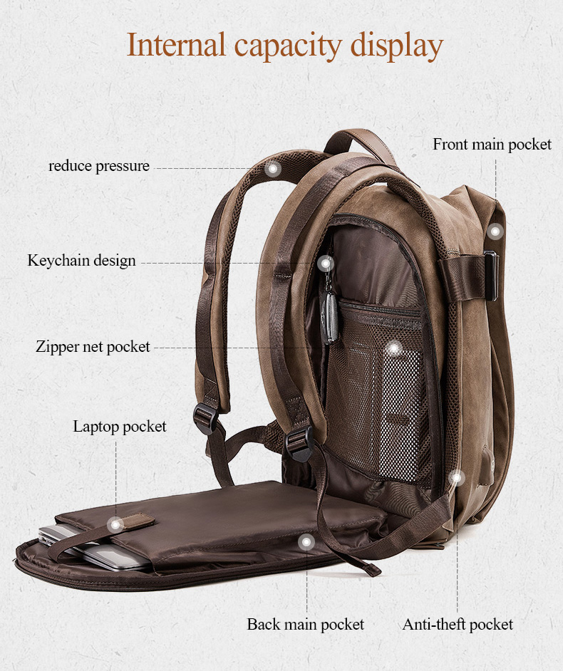 H15596403f4bc4e68b2cb478395a8e1453 - DIDE Male Backpack USB Charge Waterproof 15.6 inch Laptop Backpack Leather Travel Casual Vintage School Bag For Men Black