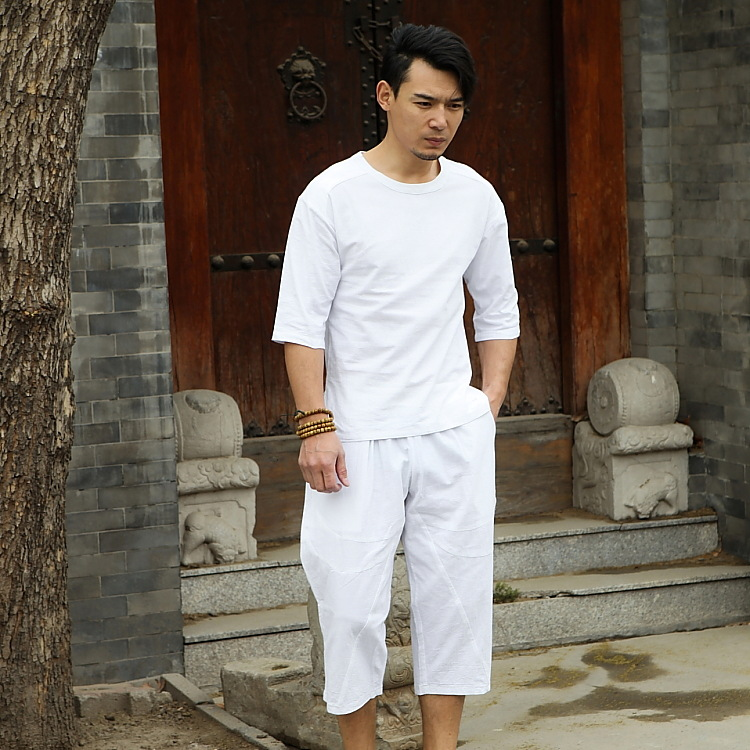 Summer Flax Set Men'S Wear Cotton Linen Short Sleeve T-shirt Chinese-style Half Sleeve Large Size Loose Retro Casual Two-Piece S