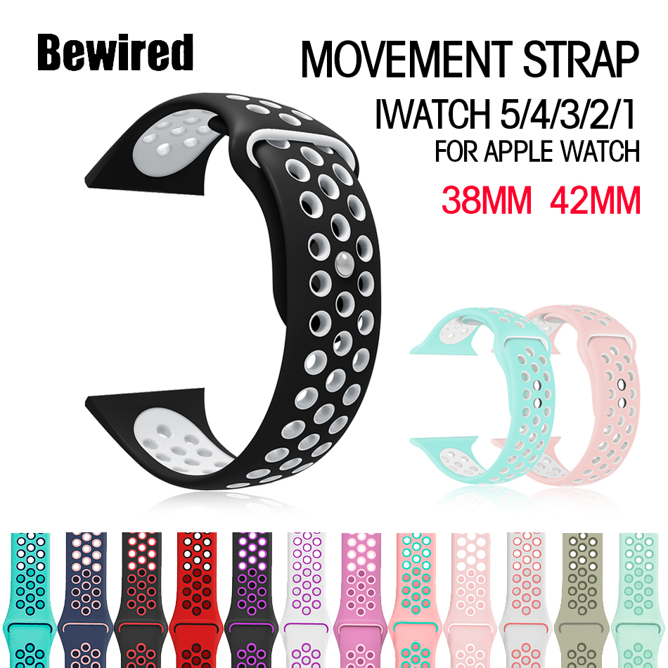 New Breathable Silicone Sports Band For Apple Watch 5 4 Band 44MM 40MM Rubber Strap Bands For Iwatch 3 2 1 38mm 42mm Accessories