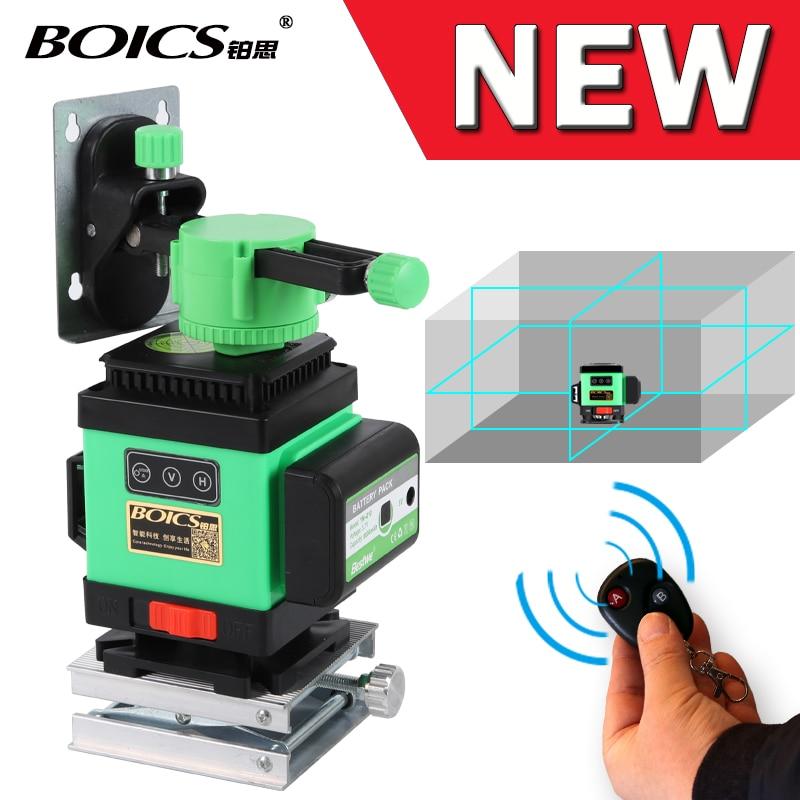 Frete grátis Boics linha transversal laser 360 graus rotativo nível do laser auto-nivelamento 12 linhas 8V4H linha leveler com controle remoto sem fio