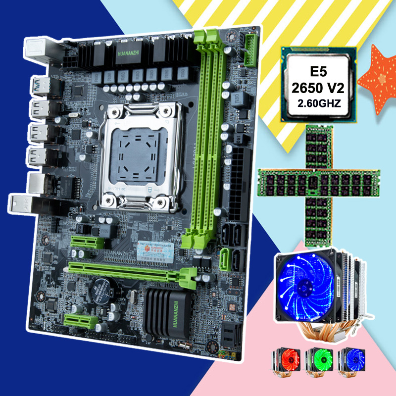 HUANANZHI computer hardware DIY micro-ATX X79 motherboard discount motherboard with CPU Intel Xeon E5 <font><b>2650</b></font> <font><b>V2</b></font> cooler RAM 32G image